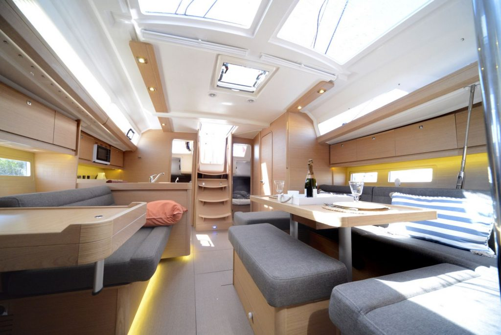 Interior of a yacht showing a clean and clutter free living space.