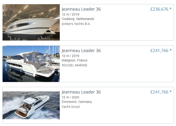 comparing prices of similar boats on yachtworld