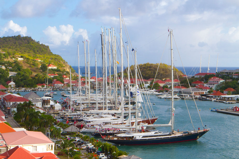 St Barths yachts line up
