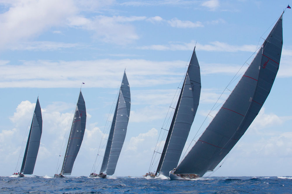 Five J-Class boats at St Barths